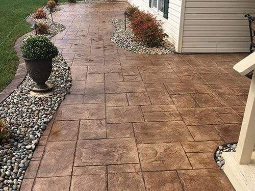 stamped concrete backyard patio maryville illinois
